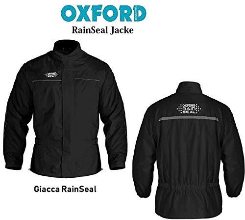 Wasserdichter Mantel Oxford Rainseal Motorrad Wasserdichte Jacke Reflektierende Jacke, Regenjacke Touren Over Jacke (Schwarz,3XL/48) -