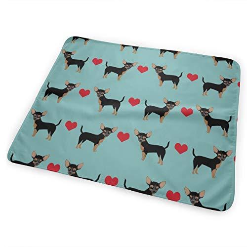 Tan Heart Fabric Pet Dog Breed Baby Portable Reusable Changing Pad Mat 25.5