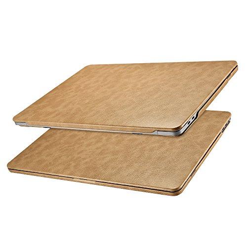 3 Hülle Lederhülle, Ultra Slim Hochwertige Ledertasche Vintage Antik Handytasche Leder Hülle Case Cover für Apple MacBook Pro 13 Zoll Retina mit/ohne Touch Bar Touch ID (Braun) ()