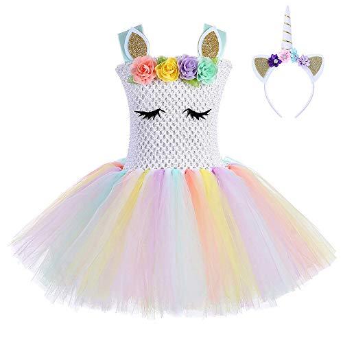 FONLAM Vestido de Bautizo Fiesta Niña Disfraz de Unicornio Princesa Tutú Vestido Infantil Flores Carnaval Niña (9-10 Años, Blanco)
