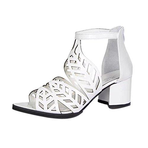 Longra Tinta unita donna primavera e l'estate PU materiale superiore lascia caviglia casuale tacco quadrato con cerniera Bianco