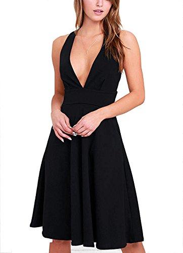 Possec donna vestiti v-collo senza maniche gonna corto vestito (l, nero)