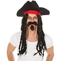 2 x Bart für Piraten schwarz Bärte Pirat Piratenkostüm Kostümaccessoire Vollbart