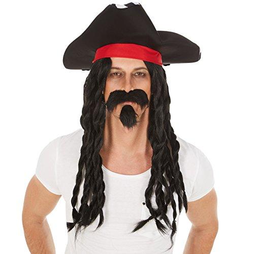 Perücke schwarze Dreadlocks | inklusive Piratenhut und Bart | Pirat Piratenbraut Piratin