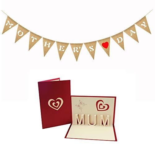(boshiho Muttertag Bunting Banner mit Muttertag 3D Pop Up Card Sackleinen Flaggen Hängende Dekorationen für Partybedarf)