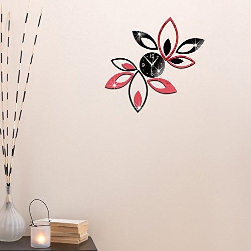 Ufengke® 3D Lotus Fleur Effet De Miroir Horloge Murale Stickers Muraux Design À La Mode Art De Décalque Décoration Créative De La Maison Noir Et Rouge