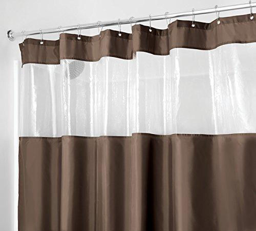 mDesign Duschvorhang (Textil) mit Sichtfenster - spak- und schimmelfrei - schnelltrocknende Duschgardine mit den Maßen 183 cm x 183 cm - auch als Badewannenvorhang - Farbe: Braun