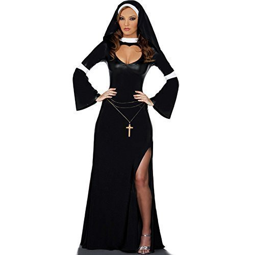Damen Lang Gesamtlänge Sexy Nonne Pfarrer und Torten Kostüm Kleid (Nonnen Outfit)