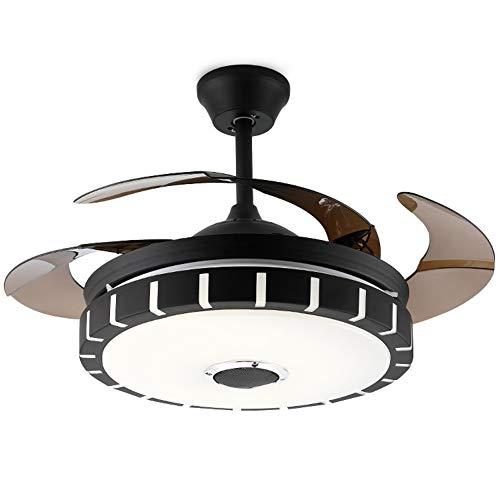 Bluetooth Musikfächer Licht, Wohnzimmer Esszimmer Schlafzimmer Deckenventilator Licht, LED unsichtbar, bunte Lüfter Licht, moderne Lüfter Licht-black-inverter -