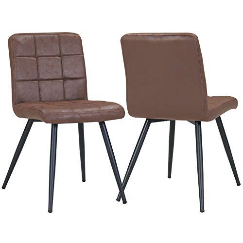 Duhome 2X Silla de Comedor de Tela con Efecto Cuero marrón achocolatado diseño Retro Silla tapizada Vintage con Patas de Metal seleccion de Color 8043B
