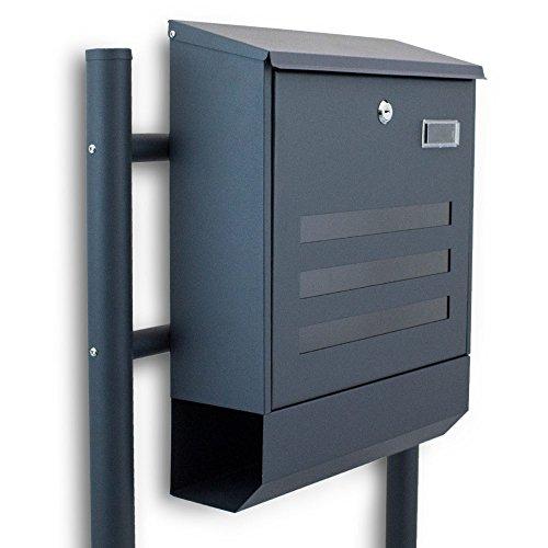 BITUXX® Freistehender Standbriefkasten Briefkastenanlage Briefkasten mit Zeitungsrolle Eckig und Fenster Dunkelgrau Anthrazit