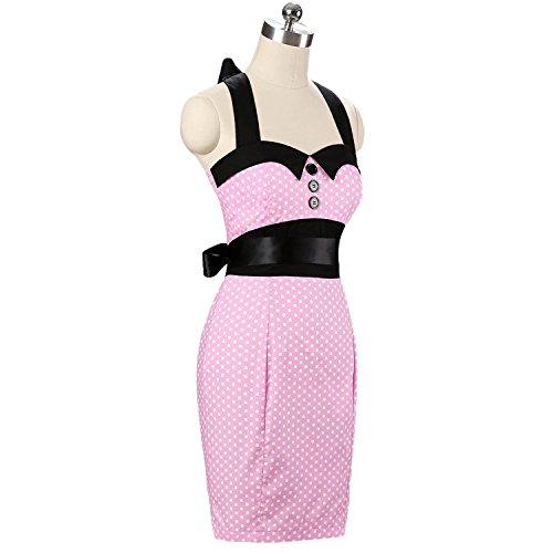 VKStar®Retro schicke Art Neckholder 50er feste Bleistift kleid mit Stoffdrucken ärmellos Abendkleid / Cocktailkleid Rosa mit weiße Punkte