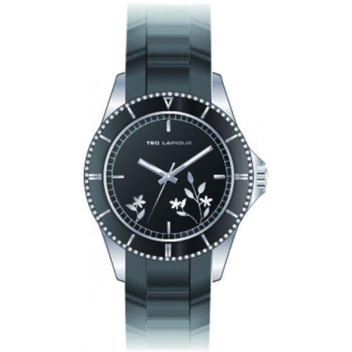 Ted Lapidus A0528RNPN - Reloj analógico de cuarzo para mujer con correa de caucho, color negro