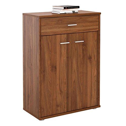 CARO-Möbel Kommode Sideboard Schrank Tommy in nussbaum, Anrichte Highboard mit Schublade und 2 Türen