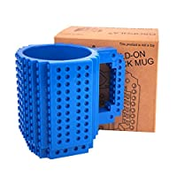 Build-On Brick Mug with Toy Man Set - Building Blocks Coffee Cup DIY Creative Coffee Tea Beverage Drinking Funny Gift