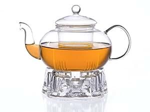 Glas Teekanne Melina 1,3l mit Filter und Glasstövchen aus Borosilikatglas mit 5 Auflageflächen in Herzform, Original Aricola®