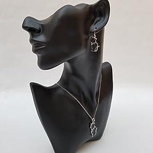 Kiara gioielli gatto cofanetto di ciondolo intarsiato con smalto nero con pietre di vetro inserto colletto di 45,7 cm catena forzatina insieme con corrispondenza ipoallergenico orecchini rodiato