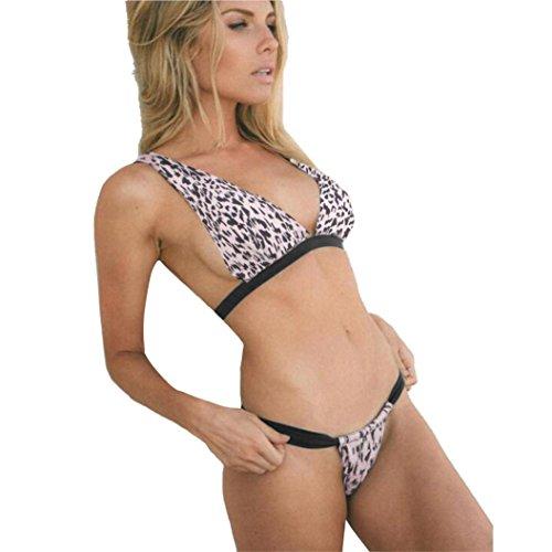 BakeLIN Bikini Set Push Up Damen Sexy Mode Leopard Badeanzug Padded Split Badebekleidung Bademode Tankini BH + Slip (S~L) (L) (Nylon Bikini Leopard)