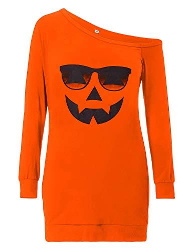 Loveternal Frauen One Off Shoulder Tops Halloween T-Shirt Druckt Kürbis Sonnenbrille Lässig Sweatshirt Pullover Jumper Orange L