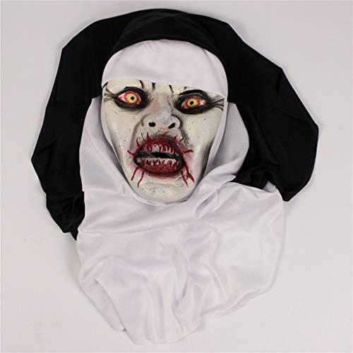 Katze Kostüm Mensch Vampir - QHJ Halloween Accessoires, Cosplay Halloween Horror Nonnen Maske Scary Horrible Nonne Mask Schmelzendes Gesicht Latex Kostüm Halloween Maskerade (Schwarz)