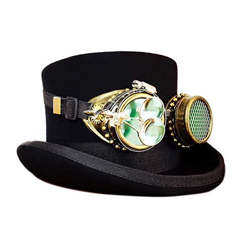 JAYLONG - Disfraz de Steampunk Vintage, Sombrero de Copa, máscara, Gafas y Engranajes, Accesorios góticos victorianos para Cosplay, Halloween, máscaras, XL