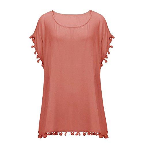 Walant Damen Chiffon Strandkleid mit Quaste Kurzarm Bluse Sommer T-Shirt Bikini Cover Up X-Rot