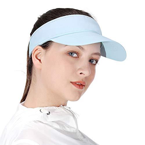 Blau Sonnenblenden für Frauen und Mädchen, Lange Brim Dickere Schweißband Einstellbare Velcro-Hut für Golf Radfahren Angeln Tennis Jogging und andere Sportarten - Golf Mädchen