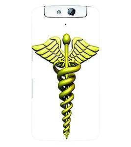 Fuson 3D Printed Doctor Logo Designer Back Case Cover for Oppo N1 - D645