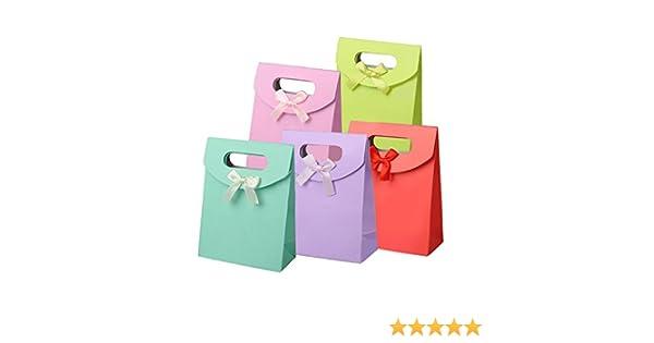 misto colore PandaHall 60 pezzi Manici Velcro Sacchetti regalo di carta con/nastro Bowknot Design per il compleanno Presente Matrimoni sacchetto della lettera del regalo 16,3x 12,3cm
