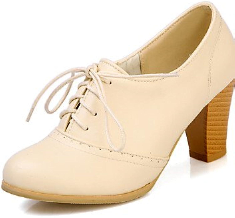 ZQ hug Zapatos de mujer - Tacón Robusto - Punta Redonda - Tacones - Casual - Semicuero - Negro / Amarillo / Beige...