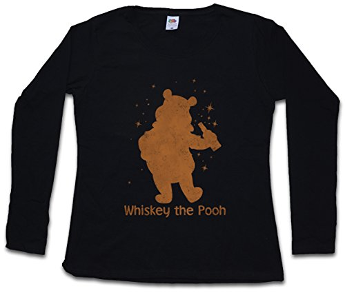 Whiskey The Pooh Women Donna T-Shirt A Manica Lunga – Taglie XS – 2XL Nero
