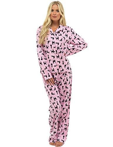 CityComfort Damen Comfy Pyjamas Damen Soft Fleece Loungewear | Bestickt mit Langarmshirt | Perfektes Geschenk für Frauen (16-18 (L), rosa Katze) (Damen-pyjama)