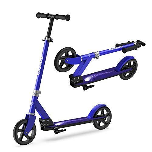 ENKEEO Kick Scooter, Big Wheel Faltbare Scooter Roller 200mm mit intelligentes Bremssystem und Höhenverstellbarem Griff bis 80kg Kapazität (Blau)