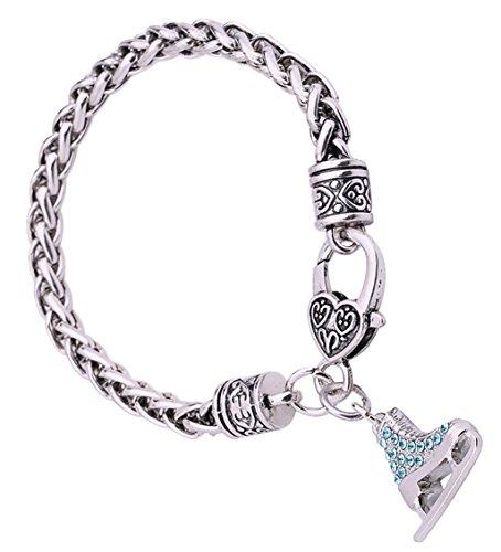 Lemegeton 3d-Kristall Eis Skate Charme für Armband Kette für Frauen, Mädchen Schmuck Geschenk