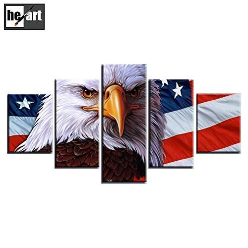 5 Panel Frame Bild Dekorationen Leinwand drucken USA Flagge American Eagle Foto schöne Stars and Stripes Poster Wandbild Ornament bereit zu hängen,B -