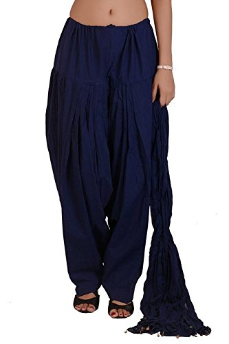 VAIDIKI Navy Blue coloure Plain Cotton Patiala Salwar With Dupatta For Women's