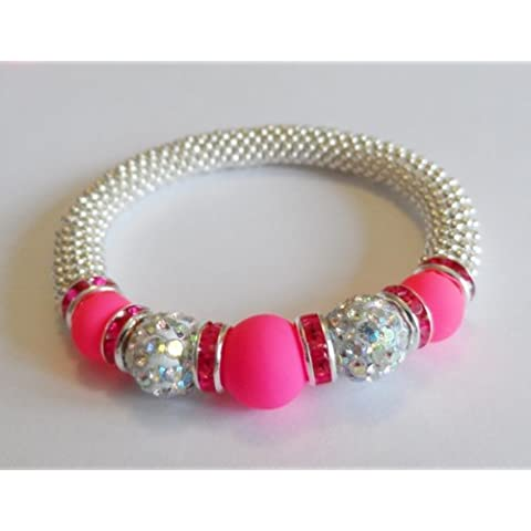 1 x Stunning Snowflake Neon Pink Glass & Crystal AB Clay Disco Bead Bling Stretch Bracelet Kit ? No Tools Required ? by Angel Malone - Tie Nail Knot