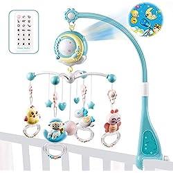 Goforwealth Clochette pour lit de bébé Mobile Musical pour Lit Bébé Télécommandé Projection de Lumières Musiques et Sons dès la Naissance Mobile Musical Soothe 'n Groove (bleu)
