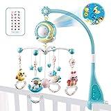 fllyingu Baby Presepe Giostrina con proiettore e luci, giocattoli da appendere sonagli rotanti e carillon telecomandato per neonati