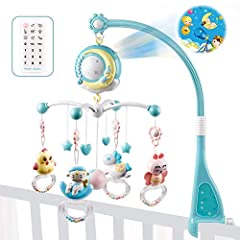 Idea Regalo - fllyingu Baby Presepe Giostrina con proiettore e luci, giocattoli da appendere sonagli rotanti e carillon telecomandato per neonati