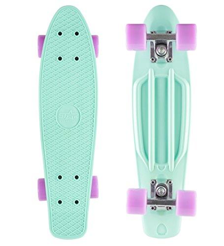 BIKESTAR Original Vintage Retro Cruiser Skateboard für Kinder und Erwachsene auch Anfänger ab ca. 6 - 8 Jahre | 60mm Kinderskateboard Retroboard | Pepper Mint & Candy Lila (Penny Cruiser Skateboard)