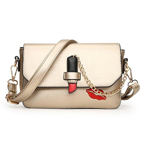 Wer Bin Ich Lippenstift Art Und Weise Beweglichen Schulter Messenger Bag Kleine Quadrat Handtaschen Gold