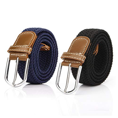 Lalafancy 2 pezzi cintura intrecciata da donna in tessuto elasticizzato cinture da uomo in tessuto elastico per jeans pantaloni (nero & blu scuro)