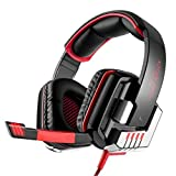 SOYY G8000 Stereo Gaming Headset für PS4, PC Computer Handys, Noise Cancelling über Ohr Kopfhörer mit Mikrofon, USB LED Licht, Bass Surround
