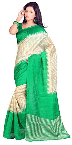 Samskruti Sarees Women Exclusive Beige Printed Art Silk with Border (R12021)