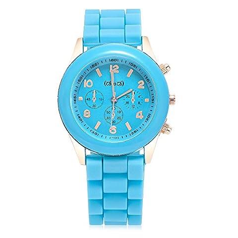 Smileyes Montre Quartz Simple femme et fille Affichage Analogique Mode décoration bracelet blanc en silicone coloré macaron TSW035L (bleu)