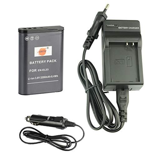DSTE® Ersatz Batterie und DC152E Reise Ladegerät Kit für Nikon EN-EL23 Coolpix P600 Coolpix S810c Coolpix P900 Coolpix P900S Digital Kamera - 60 Hz Usa-kit