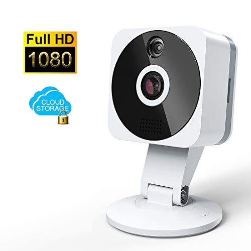 WLAN Kamera,NIYPS Full HD 1080P WiFiIP Kameramit 2 Wege Audio Bewegungsmelder, Infrarot Nachtsichtund Cloud,IndoorMini WLAN Überwachungskamerafür Babyphone mit Kamera, Nanny Cam