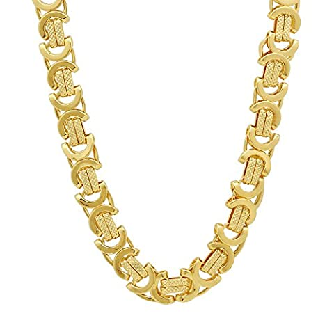 9mm 14k Gold Plated Byzantine Chain Necklace, 50 cm