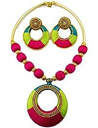 Ambalnov Green & Pink Silk Thread Necklace Set For Women-Ambalnov003